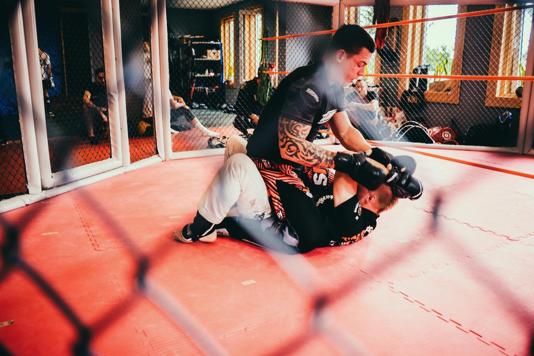 Mixed Martial Arts ist eine Mischung aus Boxen und Ringen. Kämpfe finden in vergitterten Käfigen statt.